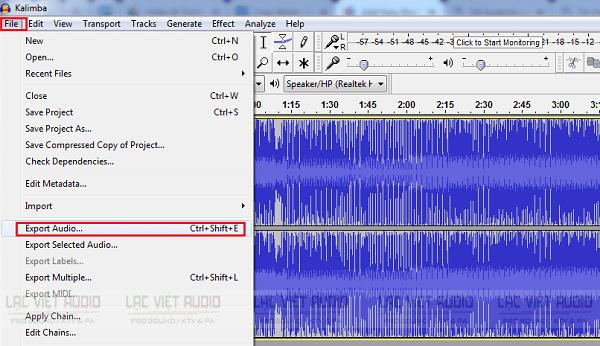 Cách xuất định dạng MP3 trong Audacity