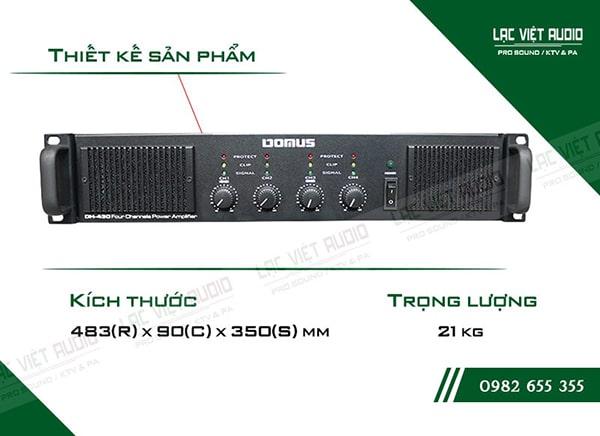 Công suất của cục đẩy Domus DH430 mạnh mẽ, âm thanh chuyên nghiệp
