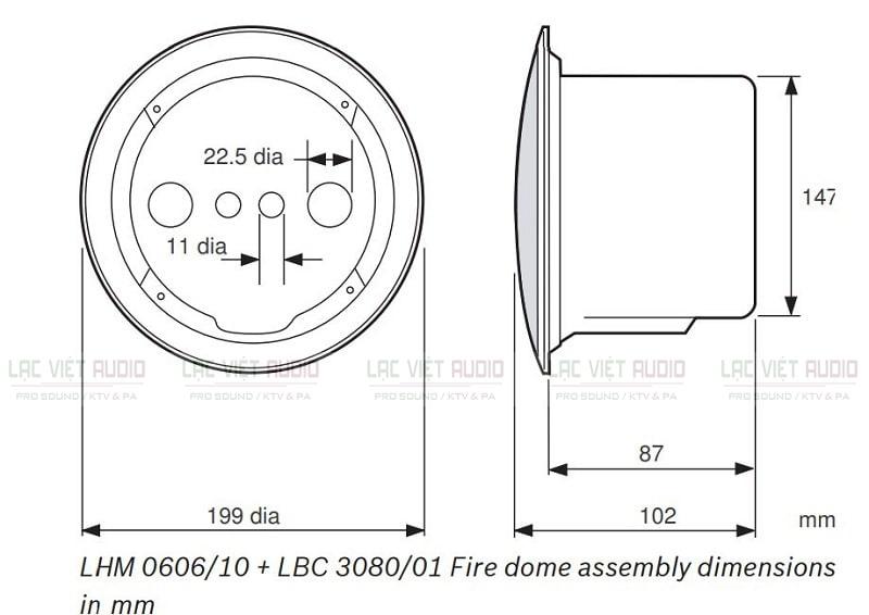 Bản vẽ thông số của loa gắn trần Bosch LHM 0606/10