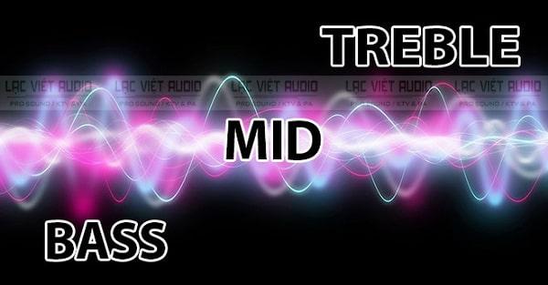 Các dải tần số âm thanh trên loa: Bass, mid, treble