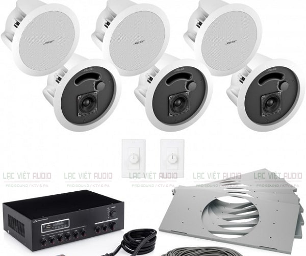 Hệ thống loa âm trần Bose gồm: loa, amply, bộ phân vùng
