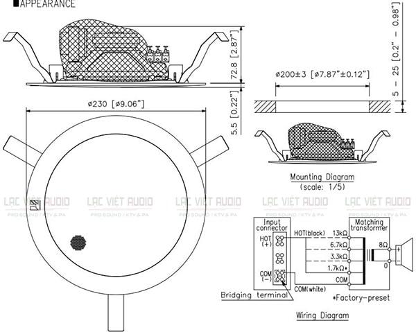 Bản vẽ kỹ thuật của loa âm trần TOA PC2369