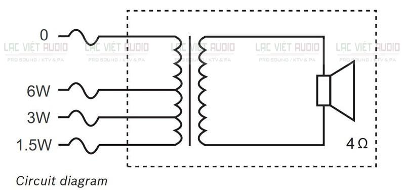 Sơ đồ nối mạch của loa âm trần Bosch 0606/10