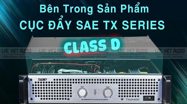 Cục đẩy SAE TX2400 sử dụng mạch class D cho hiệu suất cao hơn