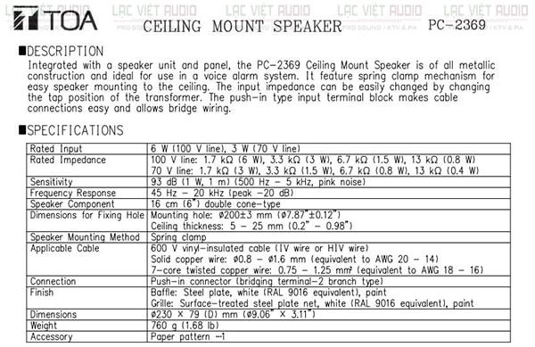 Thông số loa âm trần TOA PC 2369 pdf