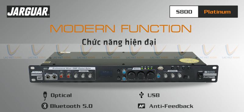 Vang cơ Jarguar S800 Platinum hỗ trợ nhiều nguồn nhạc