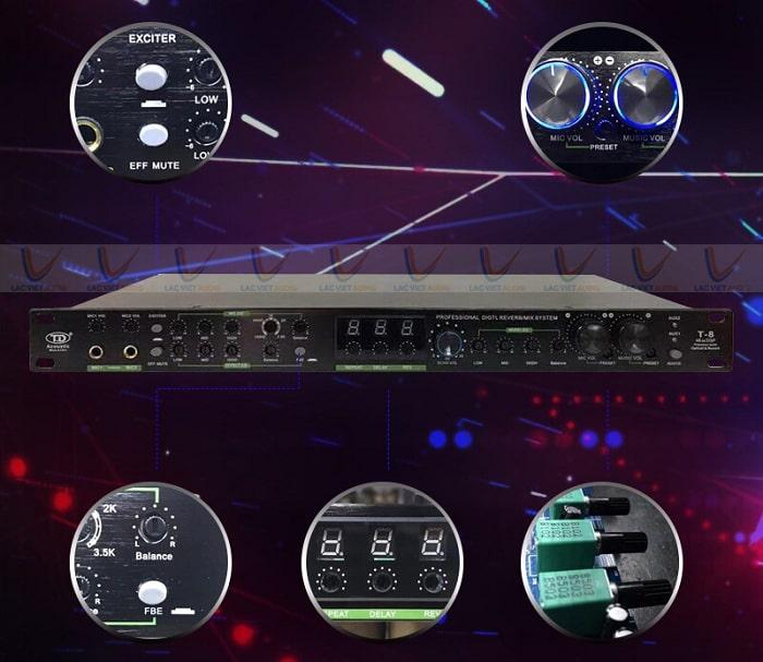 Phía trước vang cơ lai số TD Acoustic T8 đầy đủ các nút điều chỉnh bố trí khoa học