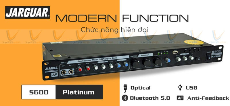 Vang cơ Jarguar S600 Platinum hỗ trợ nhiều nguồn nhạc đầu vào