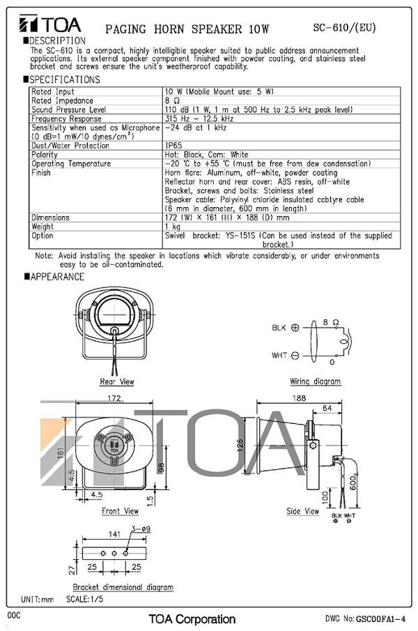 Catalogue TOA SC610 của nhà sản xuất cung cấp
